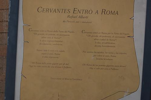 Laut Inschrift besuchte Cervantes an dieser Stelle Rom und war beeindruckt von den Kapellen und dem Himmel