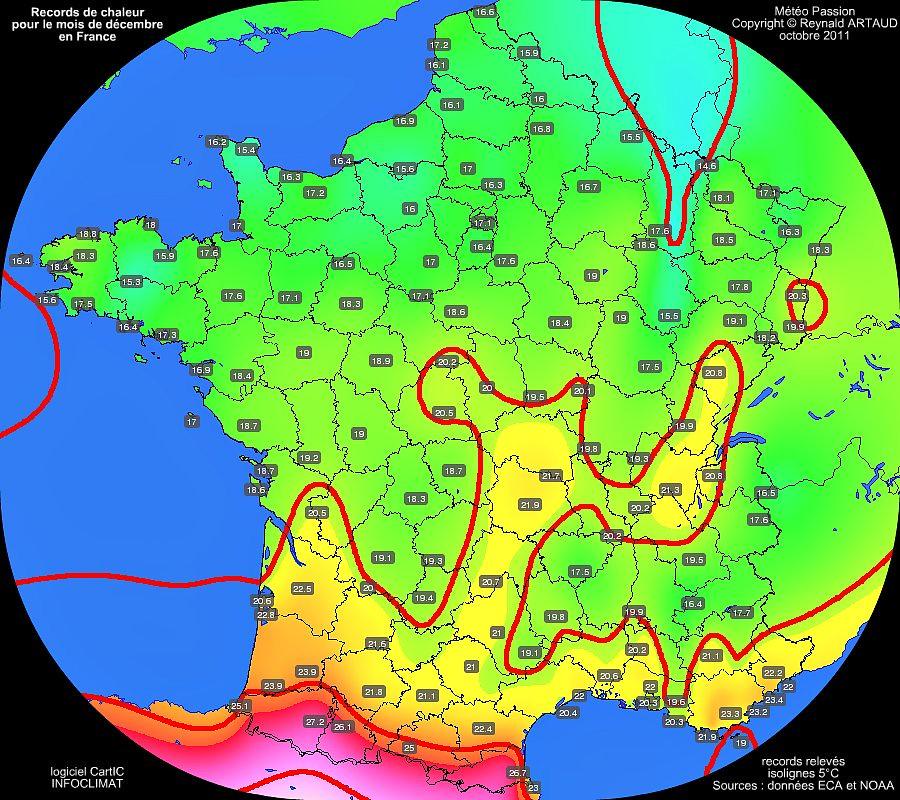 records mensuels de douceur ou de chaleur des températures maximales pour le mois de décembre en France Reynald ARTAUD météopassion