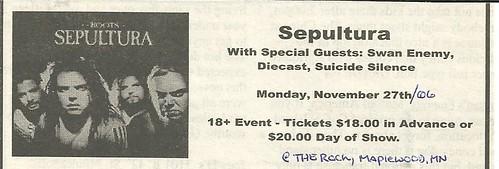 11-27-06 Sepultura @ Maplewood, MN
