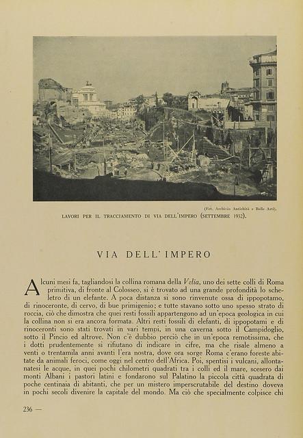 """Rome - The Imperial Fora / Via dell' Impero: """"L' invenzione dei Fori Imperiali - Demolizioni e scavi: 1924-1940 (2008): A. Munoz, Via dell'Impero. EMPORIUM,Vol. LXXVIII, n. 466, (1933), pp. 236-247 [leggi l' articolo / read article]."""