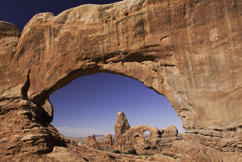 Turret Arch through North Window - Arches National Park