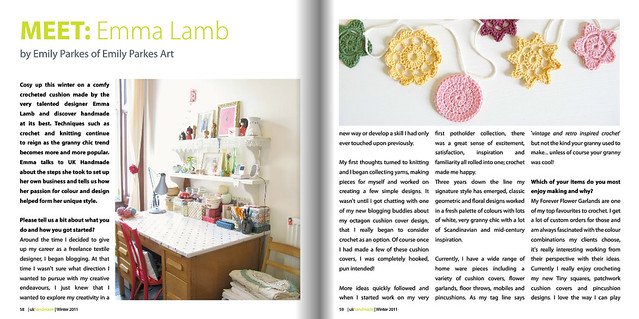 My interview in UK Handmade, Winter 2011 | Emma Lamb