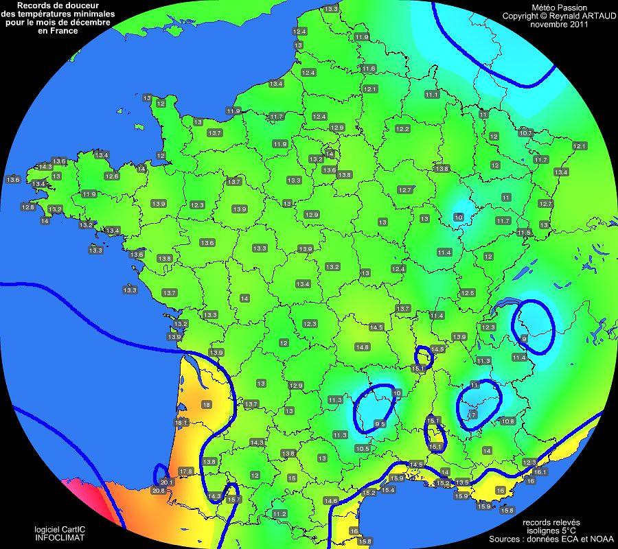 records mensuels de douceur ou chaleur des températures minimales pour le mois de décembre en France Reynald ARTAUD météopassion