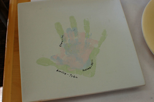 granddaughters handprint plate, unfired