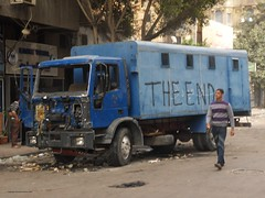 Burned Out Police Van Off Tahrir Square - 29 January 2011