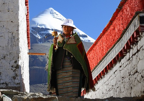 Pilgrimage at Choku monastery, with Mt Kailash in the background. Tibet