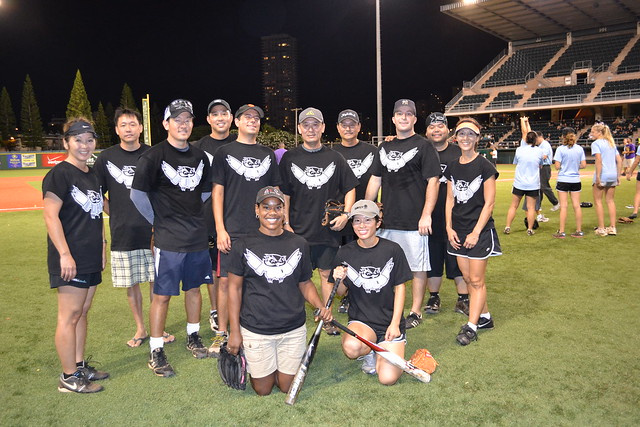 <p>The UH West O'ahu Pueo team for the UH AUW Softball Tourment at Les Murakami Stadium on Sept. 30, 2011</p>
