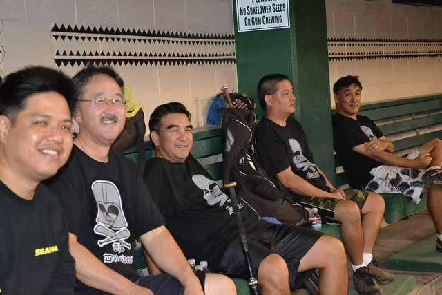 <p>Darksiders in the dugout between games in the UH AUW Softball Tourment at Les Murakami Stadium on Sept. 30, 2011</p>
