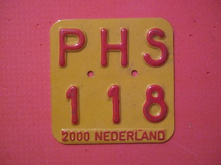 NETHERLANDS 2000 ---MOPED, SCOOTER PLATE #PHS118