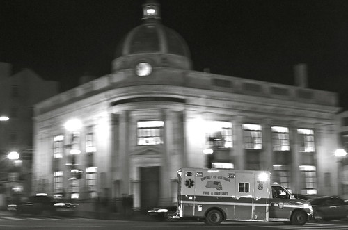 Ambulance in Georgetown. BW.