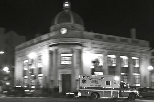 Ambulance in Georgetown. BW.