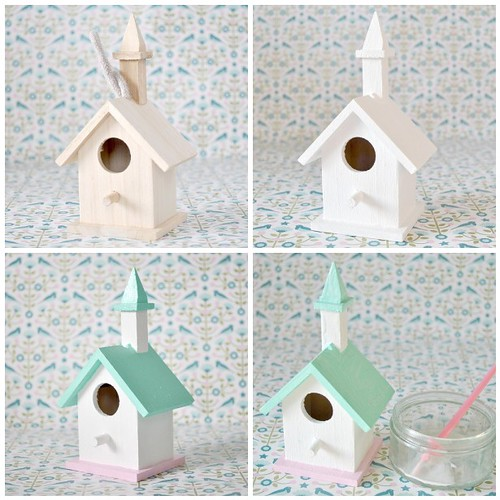 Glittered snow bird house - steps 1-4