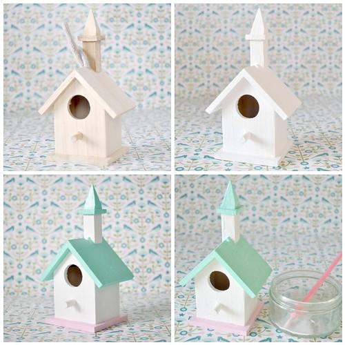 Glittered snow bird house - steps 1-4