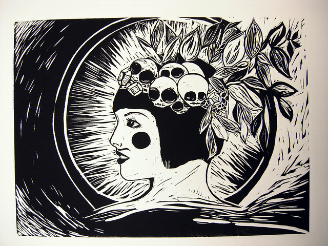 skull headress print