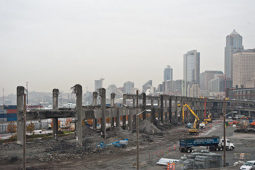 Rainy day viaduct demolition-2