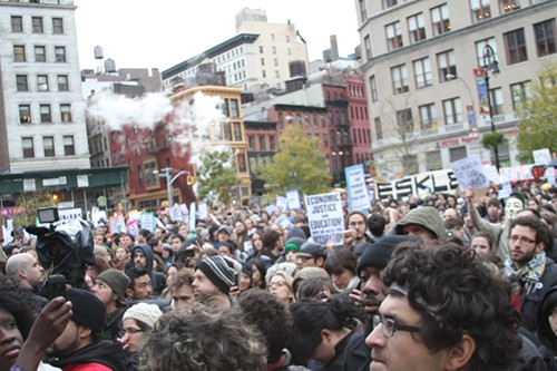 Thousands of students gather in Manhattan to protest cuts in education services. The state has cracked down on anti-capitalist protest inside the United States. by Pan-African News Wire File Photos