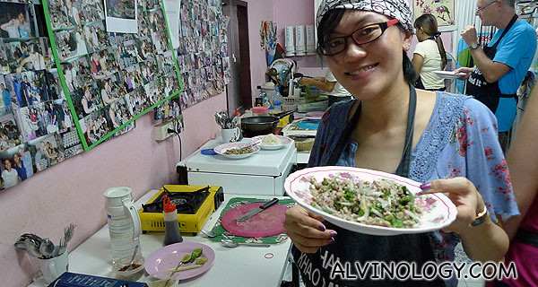Rachel with her completed plate of Larb Pet