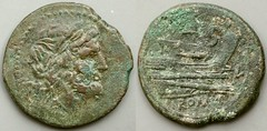 97/24 Luceria L Semis. Second phase. Saturn / L; S / Prow / L / ROMA. AM#11207-13, 12g59. Mintmarks both obverse and reverse.