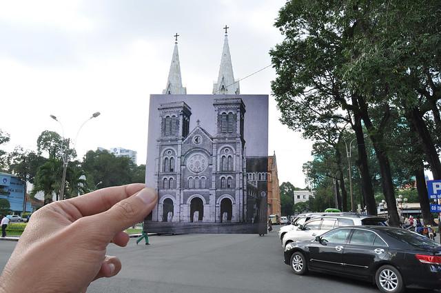 Nhà thờ Đức Bà năm 1890 (khi chưa có 2 chóp mái)