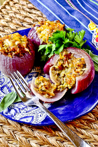 Sausage-Stuffed Red Onions 1