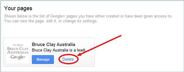 delete a google+ page