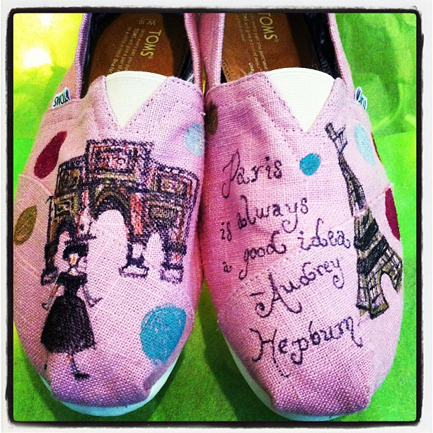 We got a pair of hand painted TOMS featuring the wise words of Audrey Hepburn!