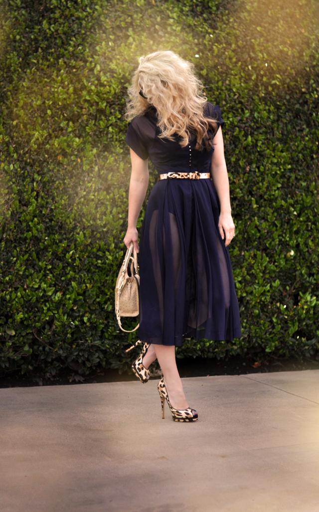 vintage sheer 50's dress - leopard print belt shoes -big hair