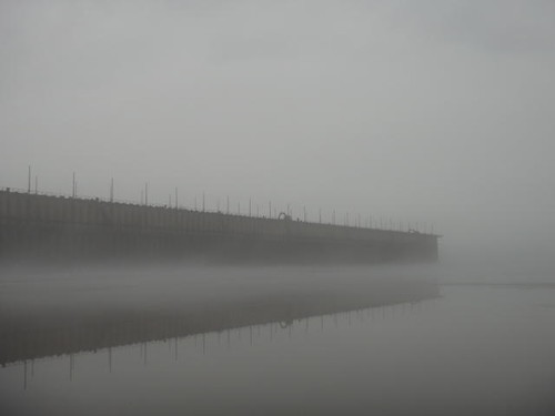 Fog on Chequamegon Bay.