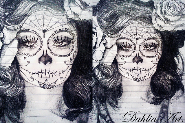 Sugar skull girl portrait