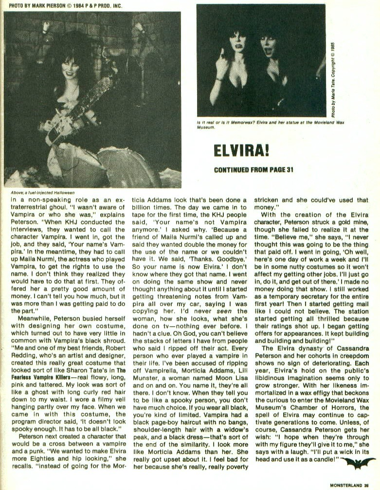 Monster Land #7 Elvira Article Page 5 - Download Photo