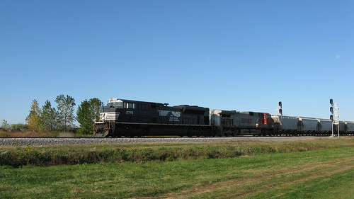 Eastbound Norfolk Southern /BNSF  transfer train entering the Belt Railway of Chicago Clearing Yard.  Chicago Illinois USA. Saturday, October 15th, 2011. by Eddie from Chicago