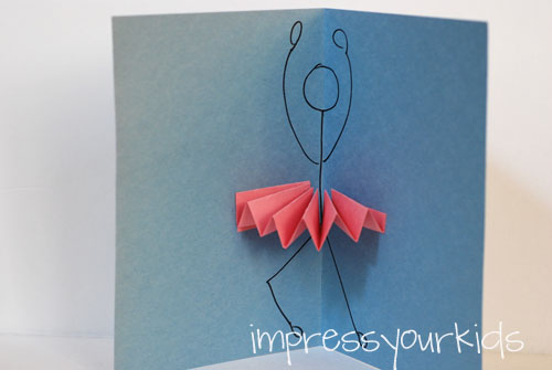 Simply modern mom ballerina pop up cards by impress your for Impress cards and crafts