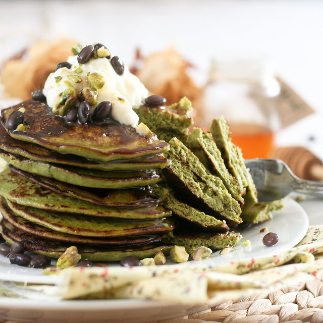 Matcha Green Tea Coconut Pancakes Recipe — Dishmaps