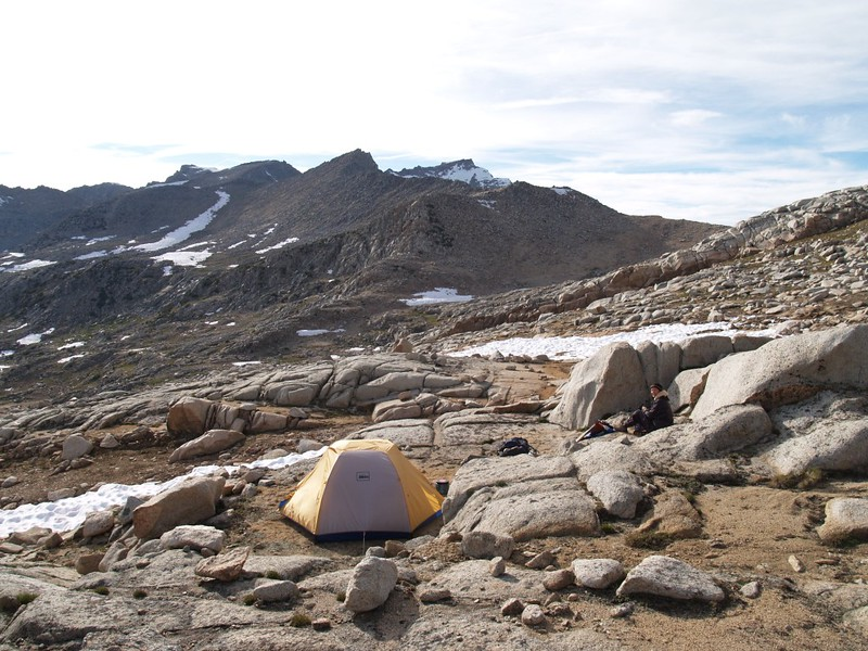 Dusy Basin campsite - Bishop Pass is around to the right beyond that nearby ridge