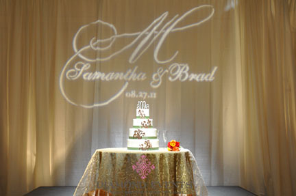 Monogram behind Wedding Cake at Hotel Roanoke