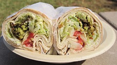 flatbread, sandwich wrap, street food, tortilla, meat, food, dish, cuisine,