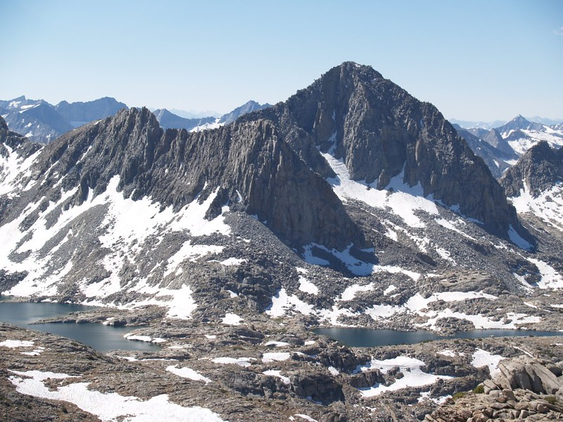 Isosceles Peak and Columbine Peak from Peak 12286 across Dusy Basin