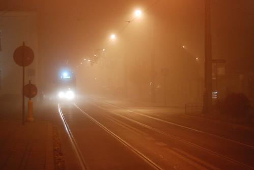 Krakow, tram in mist.