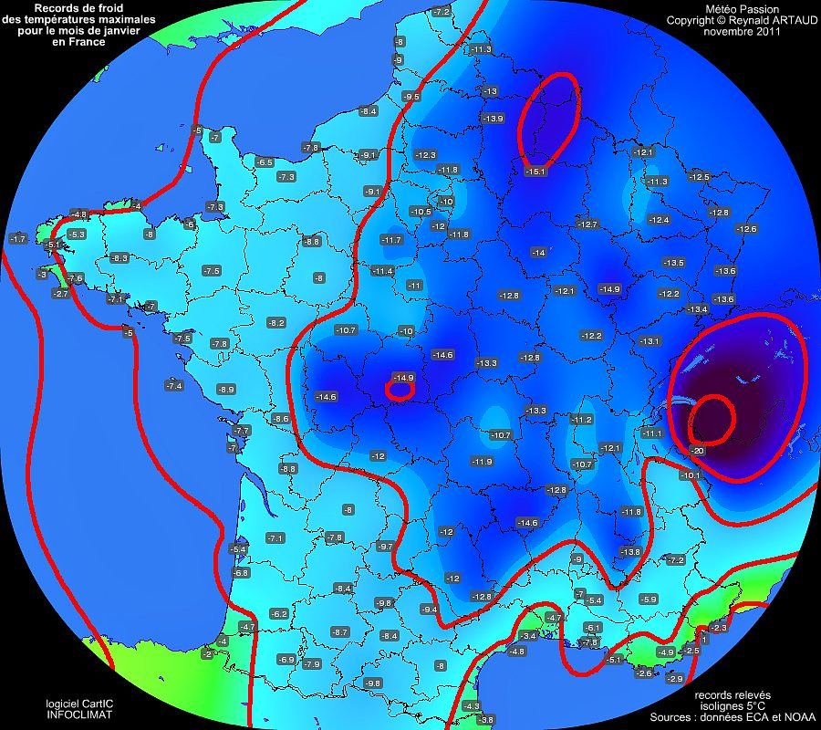 records mensuels de froid ou de fraîcheur des températures maximales pour le mois de janvier en France Reynald ARTAUD météopassion