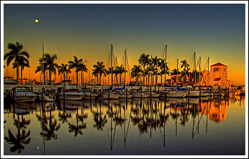 moon sunrise reflections dawn florida hdr bradenton topaz manateeriver