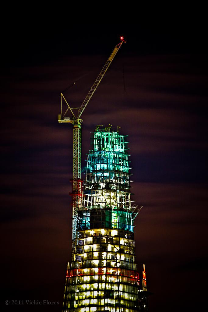The Shard and top crane lit up at night - 18 November 2011