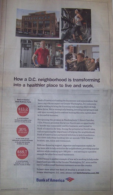 Bank of America ad in the Washington Post lauding its small business financing