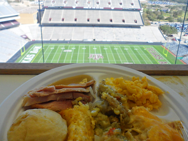 thanksgiving in Kyle Field press box