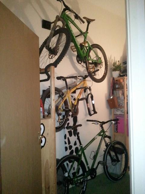 Bike holders were custom welded for friends' old bike shop - I inherited a  few when they closed.