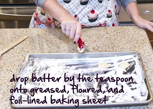 drop batter on the cookie sheet