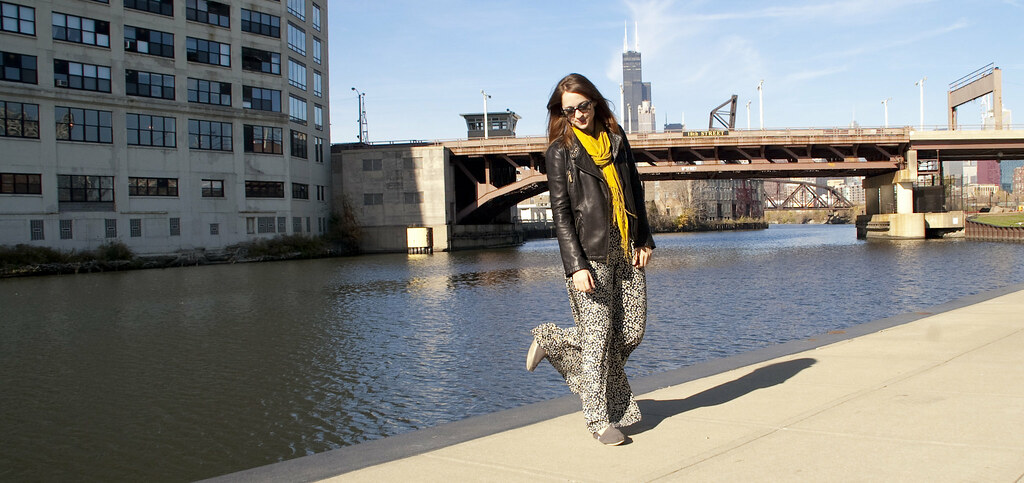 dashdotdotty, wideleg pants, anthro, leather jacket, river, mustard, navy, dots, how to