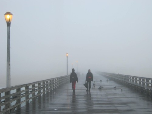 Steeplechase pier in Coney Island on a foggy morning