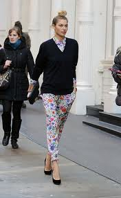 Jessica Hart Floral Pants Celebrity Style Women's Fashion