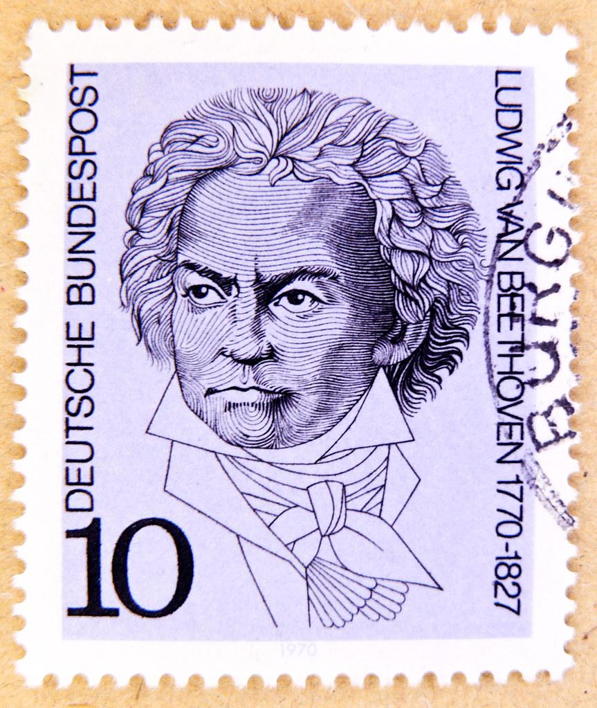 Beautiful German Stamp Germany 10 Pf Ludwig Van Beethoven Composer Classic Music 1770 1827 Postage