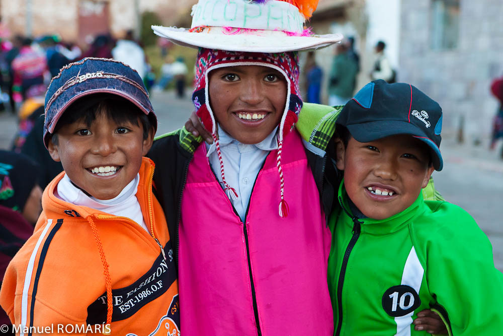 Lake Titicaca, Peru, three boys